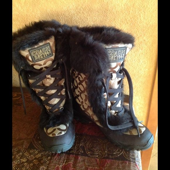 Authentic Coach Snow Boot Rabbit Fur Jennie These boots are like new condition used a couple of times. Size 7 Coach Shoes Winter & Rain Boots