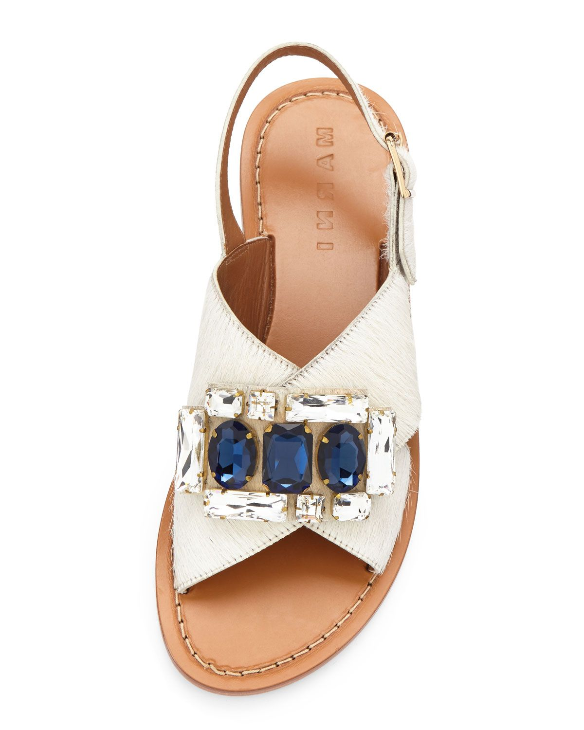 ded90d74c03f Marni Jeweled Calf-Hair Crisscross Flat Sandal