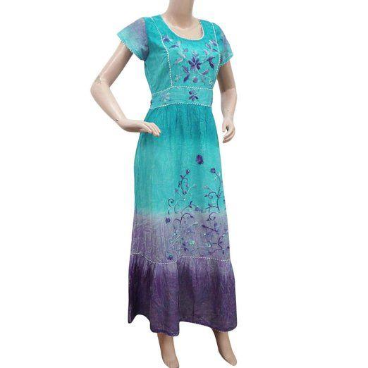 Blue Sun Dress Women Wear Cotton Maxi Short Sleeves Casual