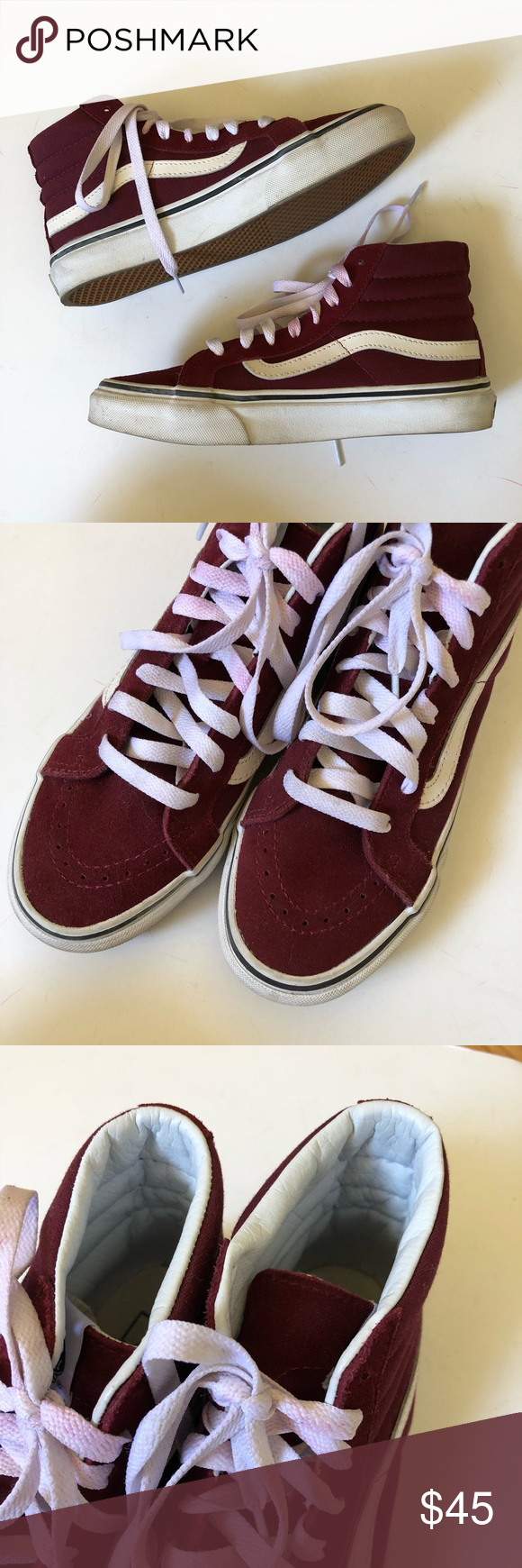 87514e1f9a Vans Sk8 Hi-Slim in Burgundy Worn twice! In excellent condition. Canvas and  suede combo. The dye from the suede has transferred onto the laces but thy  can ...
