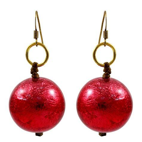 Red Foil Resin Earrings