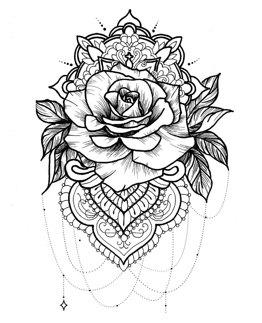 Mandala and rose with beautiful petals – Mandalas Coloring Pages for Adults – Just Color