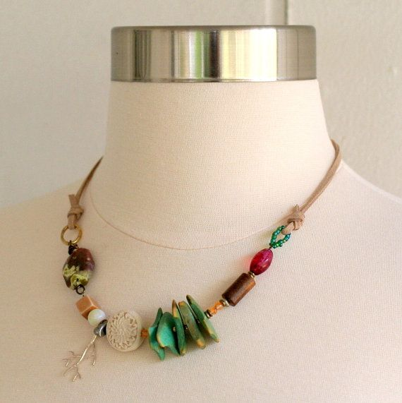 Ethnic Statement Necklace Beaded Necklace Tribal by ThreeTrees, $43.00