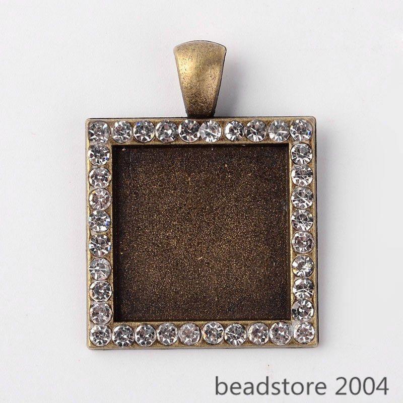 10pcs Antique Bronze Alloy Pendant Cabochon Setting Bezel Bases Square Rectangle