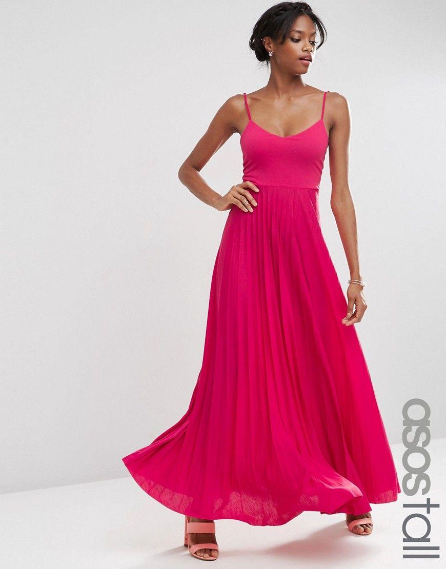 Asos tall cami maxi dress with pleated skirt wardrobe pinterest
