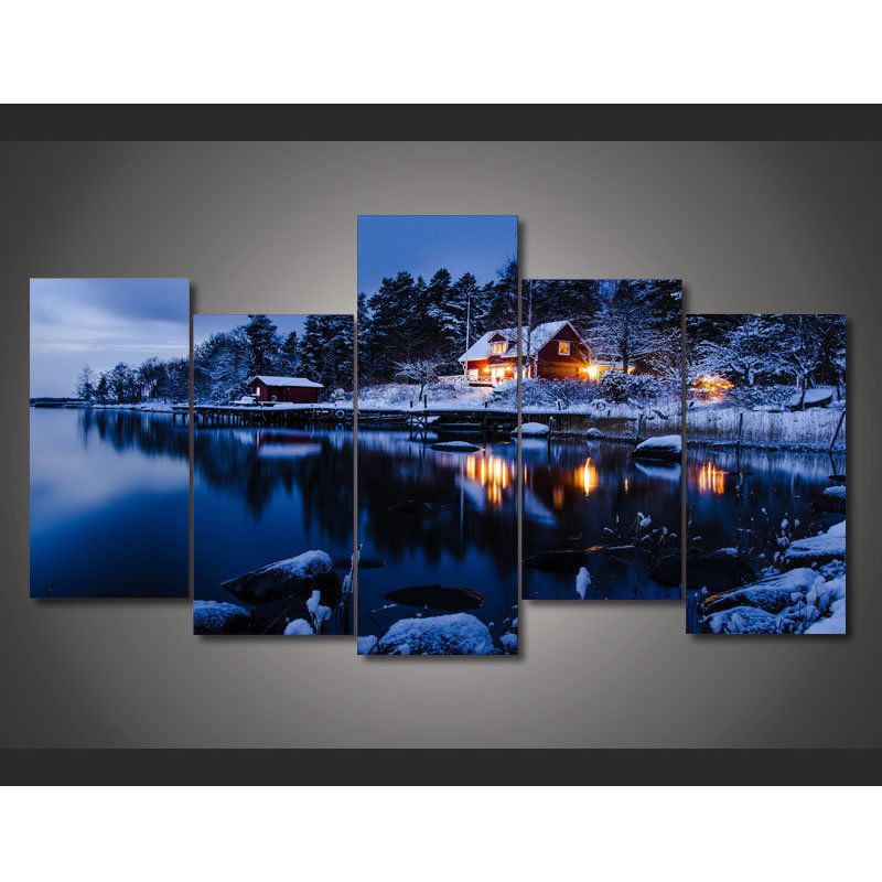 BLUE LAKE SCENERY LANDSCAPE ART PRINT Modern Nature Photography Wall Picture