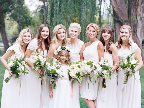 Modest Bridesmaid Dresses In Ivory By The Dessy Group From Lily Iris Bridesmaids Photo