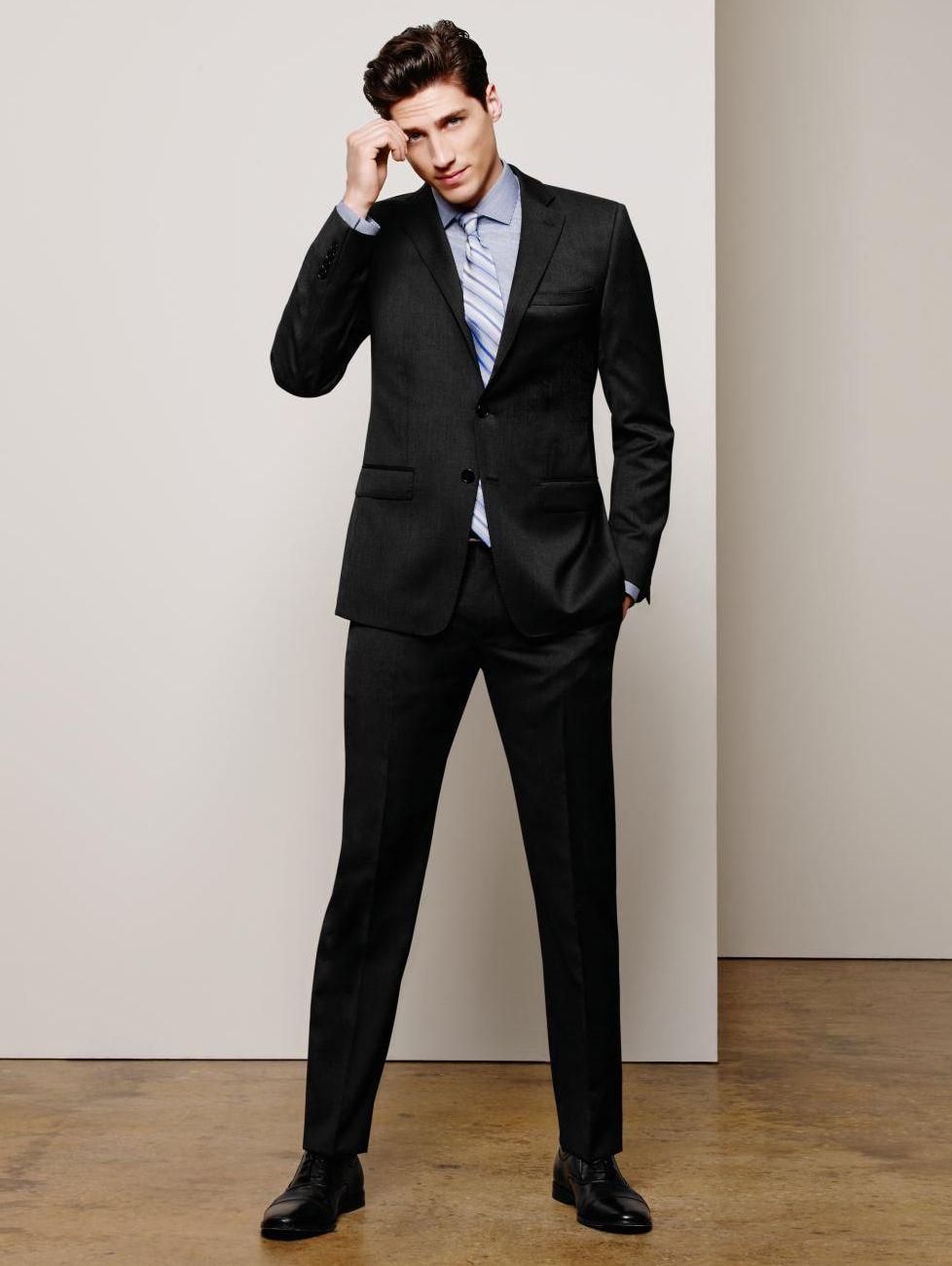02dfa8f45d Solid Wool Black Slim X Fit Suit in 2019 | The Men's Shop | Black ...