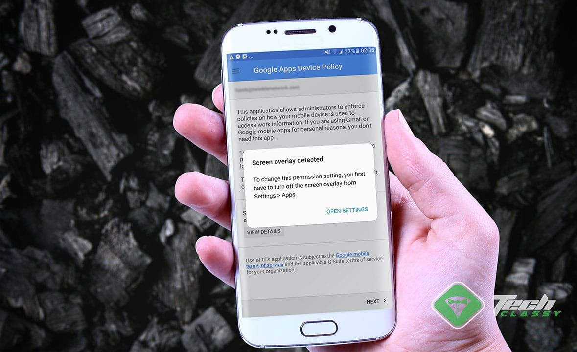 How to fix screen overlay detected error on android
