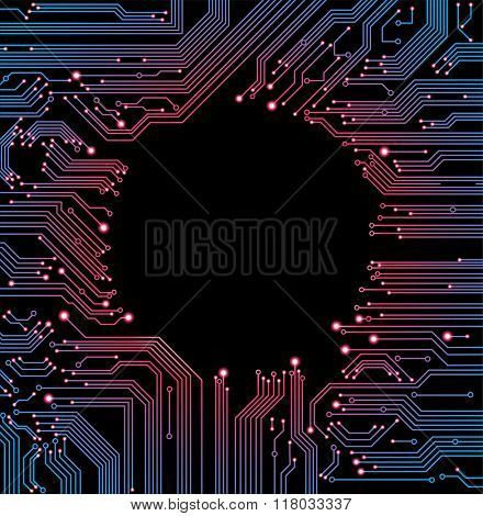 abstract vector background with high tech circuit board  This work