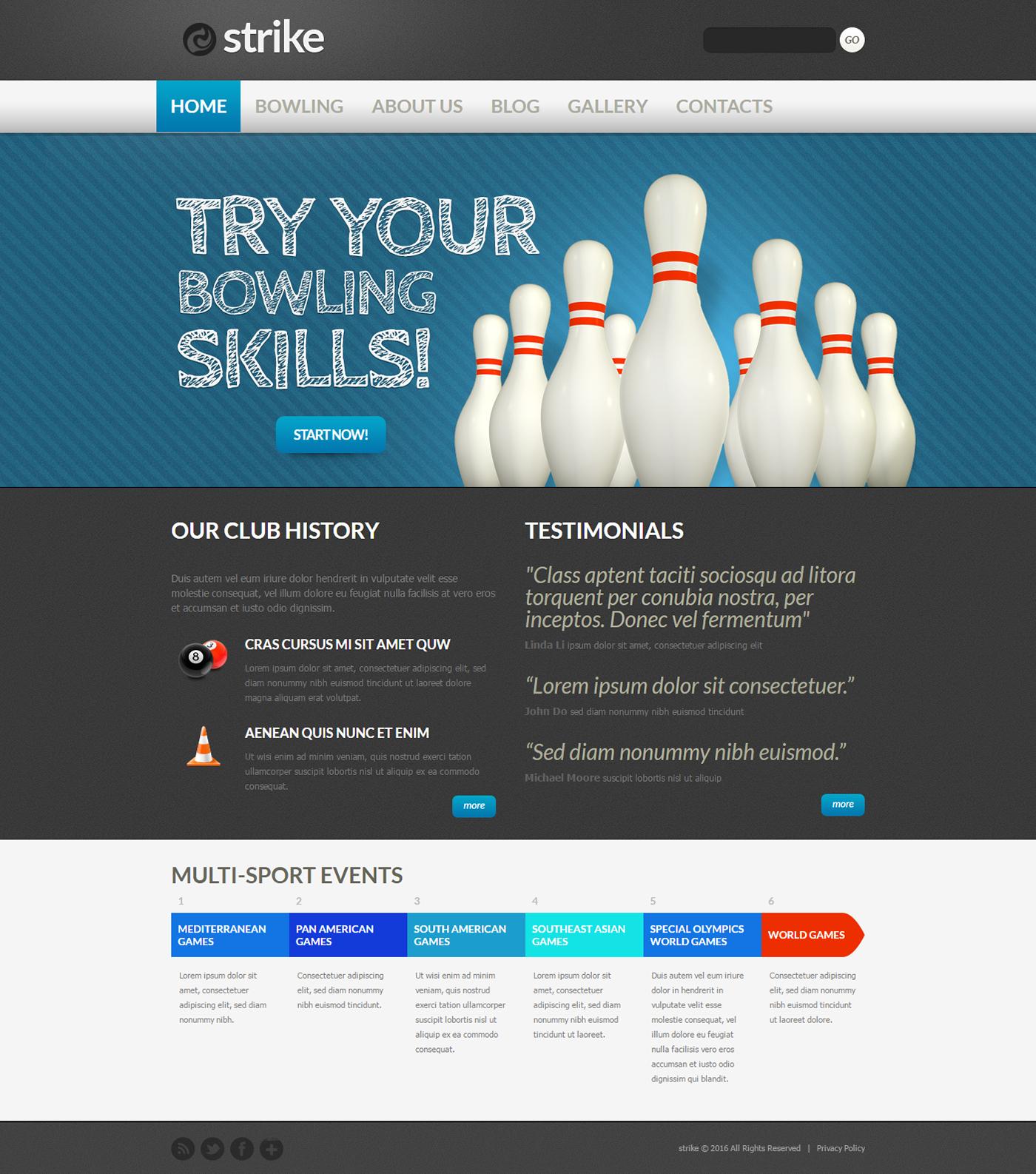 Bowling Club Drupal Theme On Behance Drupal Theme Hosting