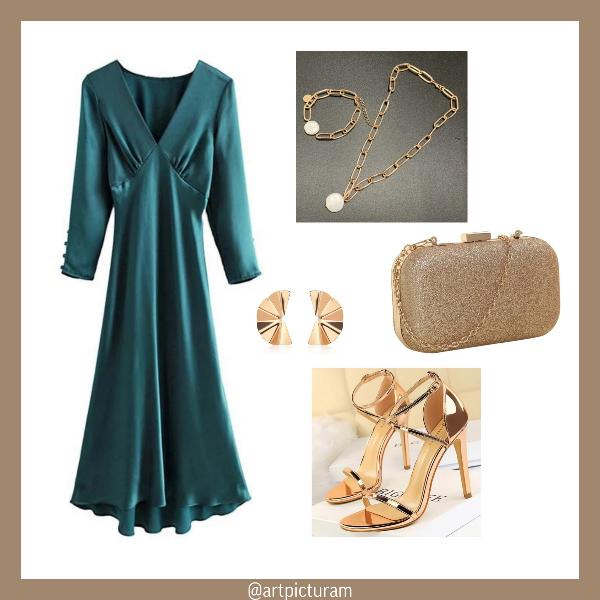 Emerald dress Hollywood chic retrostyle