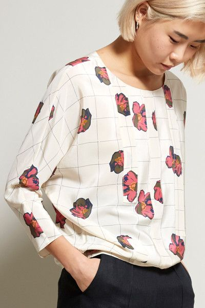 No.6 Bering Dolman Top in Floral Grid