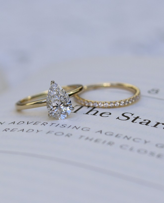 Pear Lab Diamond Solitaire Engagement Ring This 1 68ct Pear Brilliant Cultured Diamond Is Custom Engagement Ring Lab Diamond Engagement Ring Wedding Rings