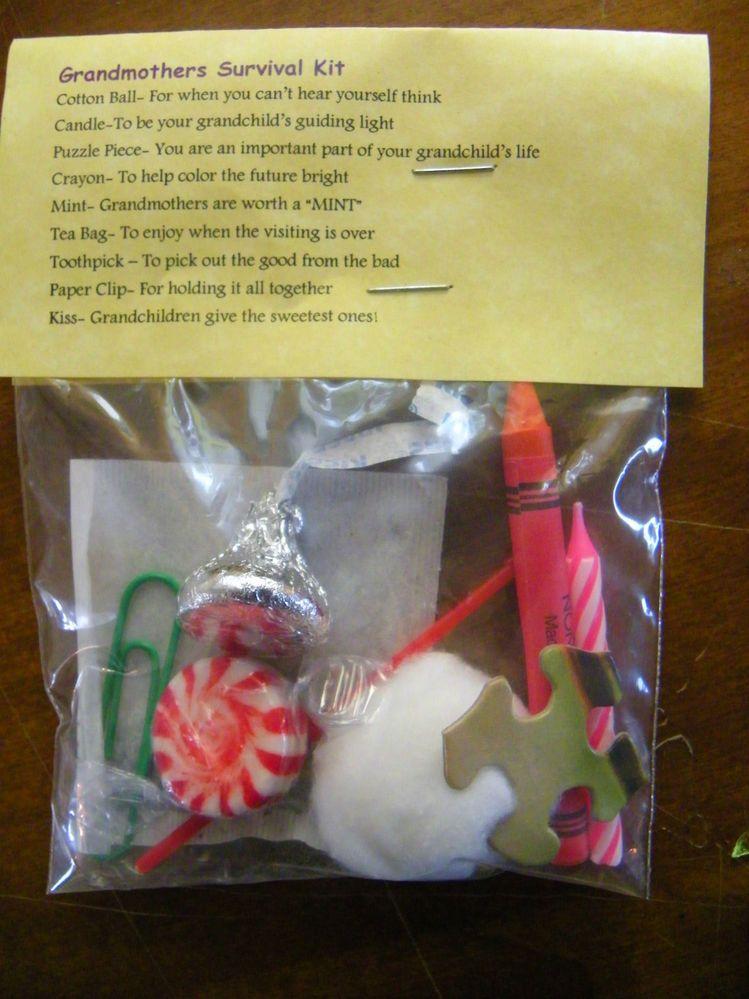 Grandmother Survival Kit 9 Items Inside Stocking