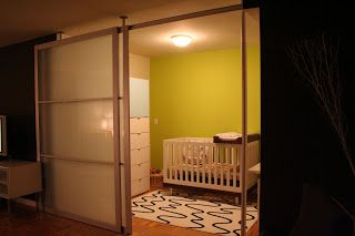room divider using Stolmen poles and IKEA sliding doors Hacked