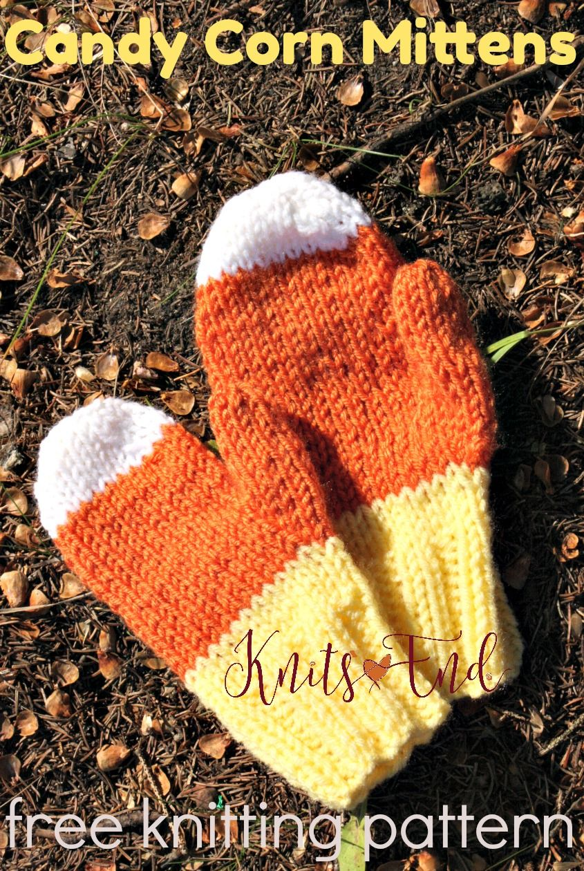 Candy Corn Mittens - free knitting pattern for candy corn themed ...