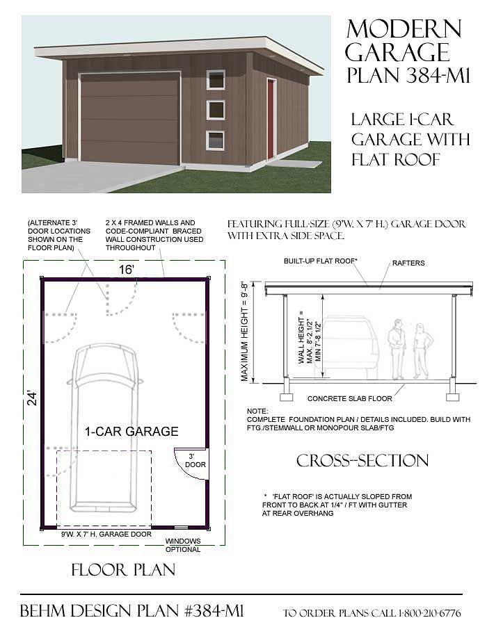 384 M1 16 X 24 Garage Plan Garage Design Garage Plans