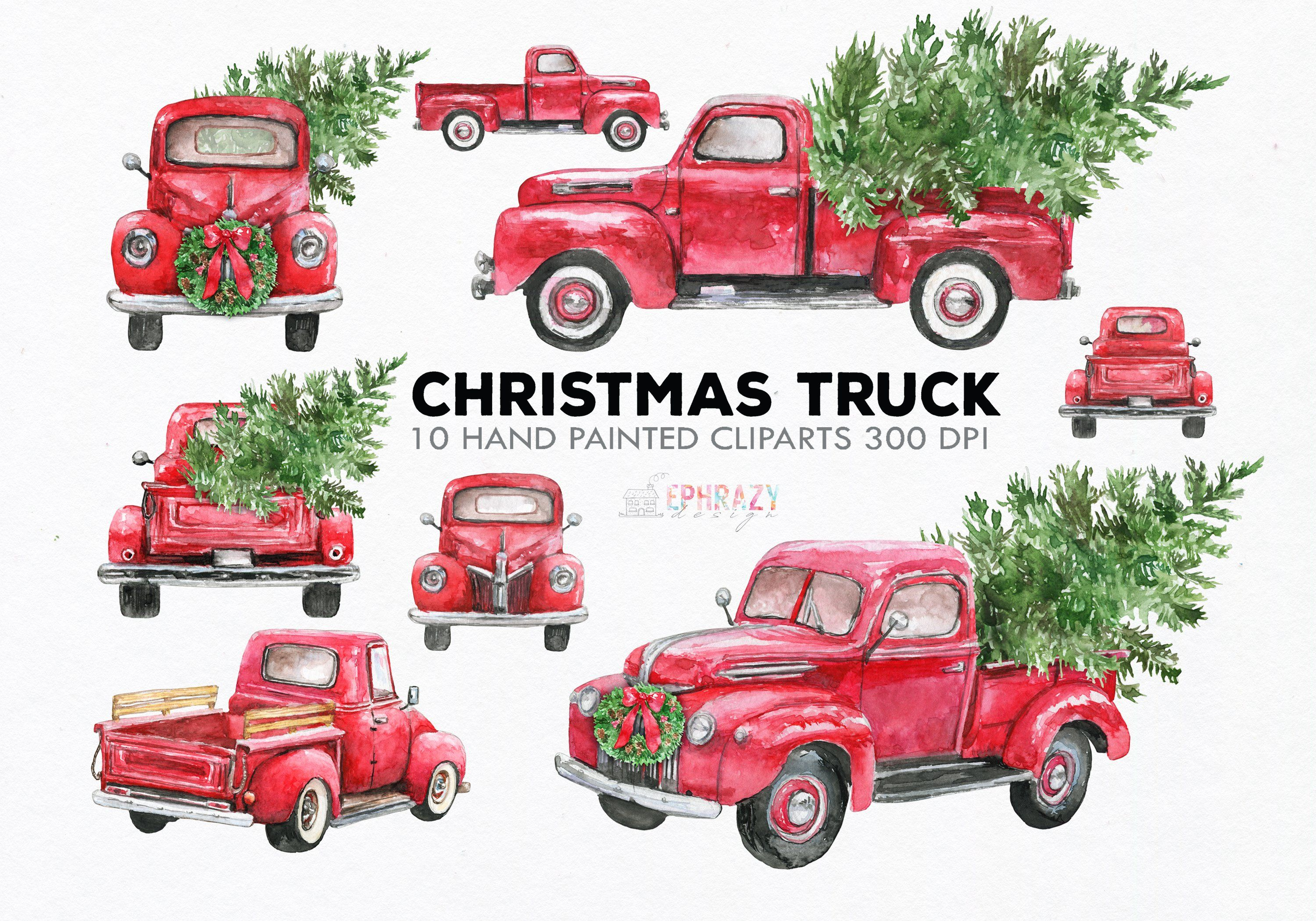 Christmas Truck Clipart In 2021 Christmas Truck Clip Art Red Truck