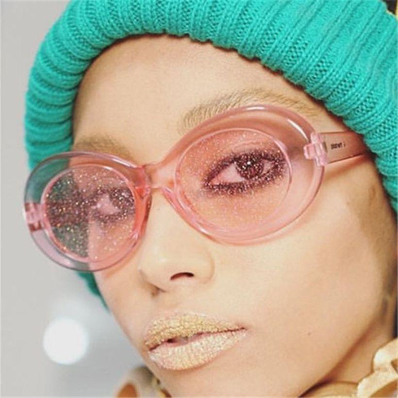 1819ab4634 Oulylan Oval Sunglasses Women Retro Clout Goggles NIRVANA Kurt Cobain  Glasses Men Buling Clear Sun Glasses Gift