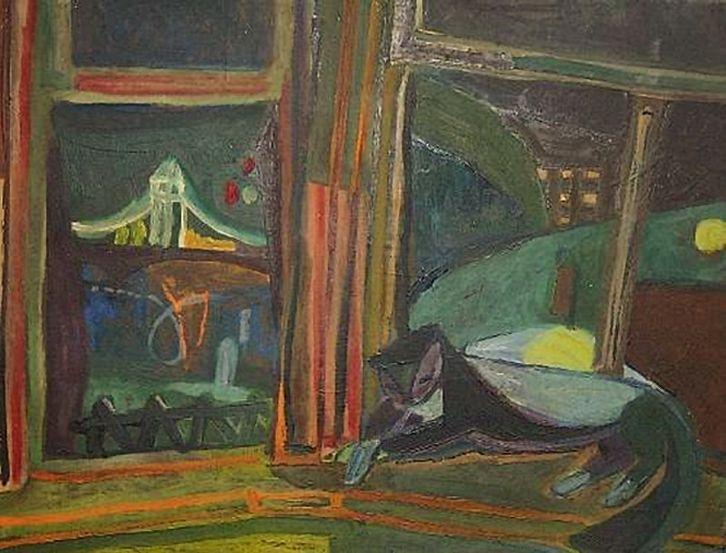 """Jerzy Faczynski (1917-1994) - """"View on Festival Garden - Cat Before a Window"""""""
