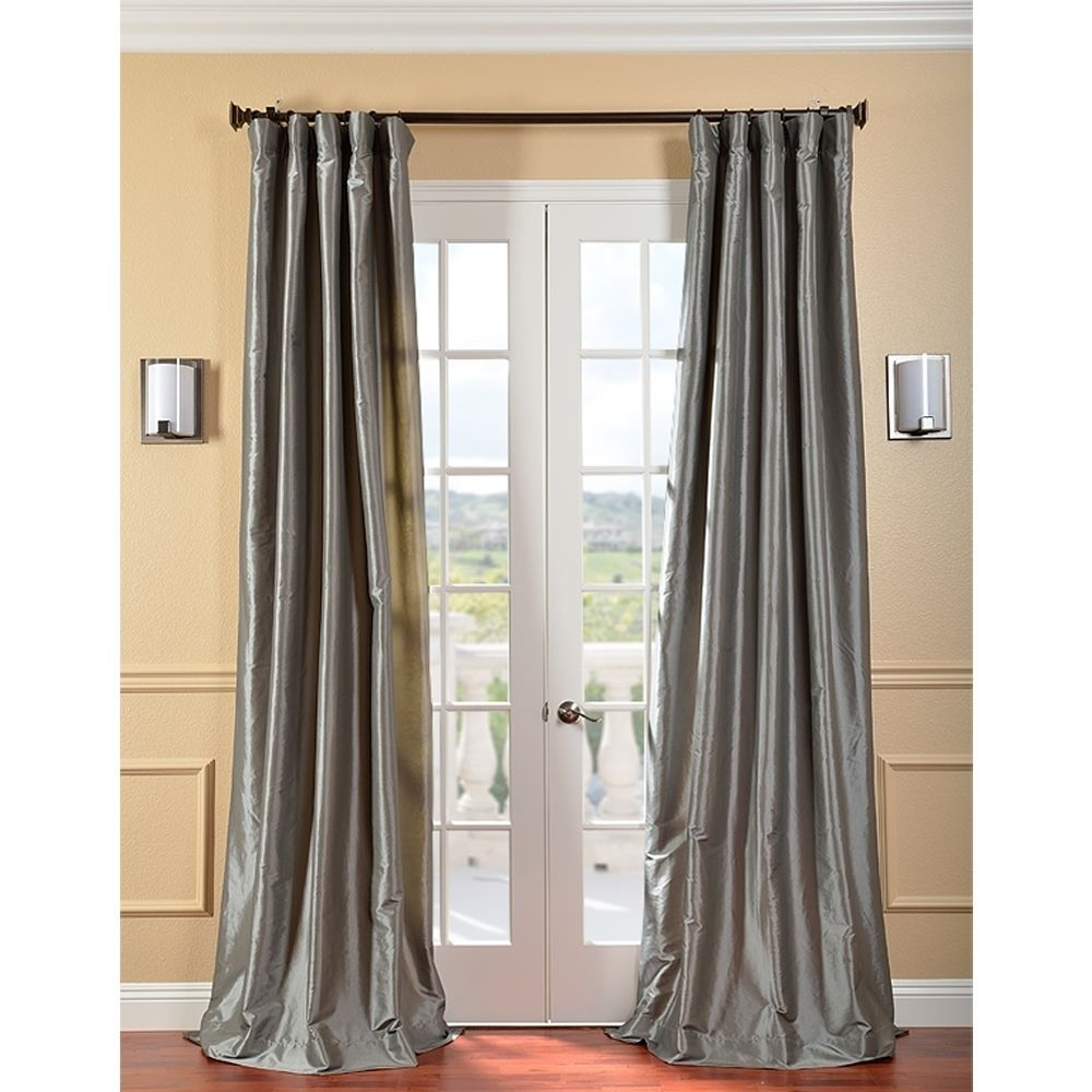 Solid Faux Silk Taffeta Platinum Curtain Panel Overstock Com Shopping Great Deals On Eff Curtains Faux Silk Curtains Half Price Drapes Silk Curtains