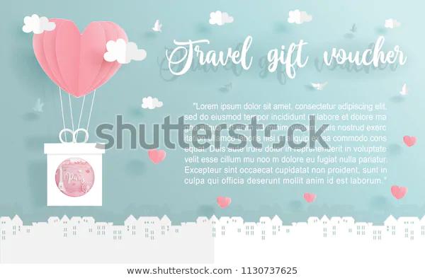 Travel Gift Voucher Paris France Symbol เวกเตอร สต อก ปลอดค าล ขส ทธ 1130737625 ภาพประกอบ