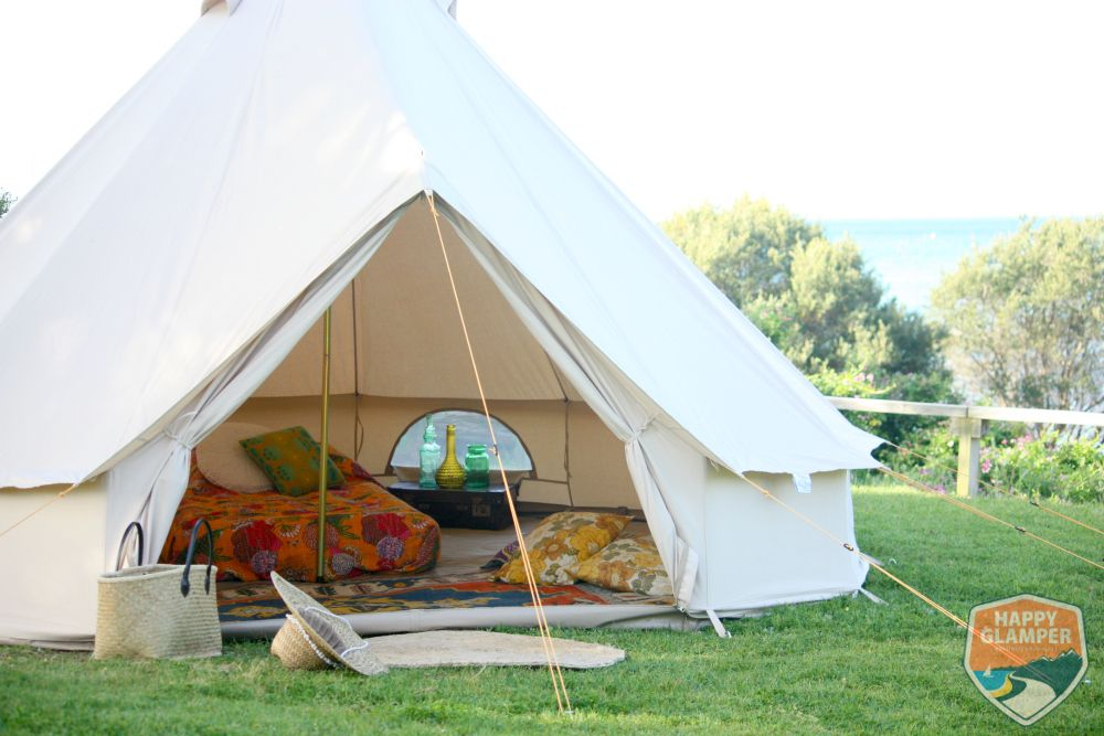 Diy glamping is easy with the right set up and a big bell for Glamping ideas diy