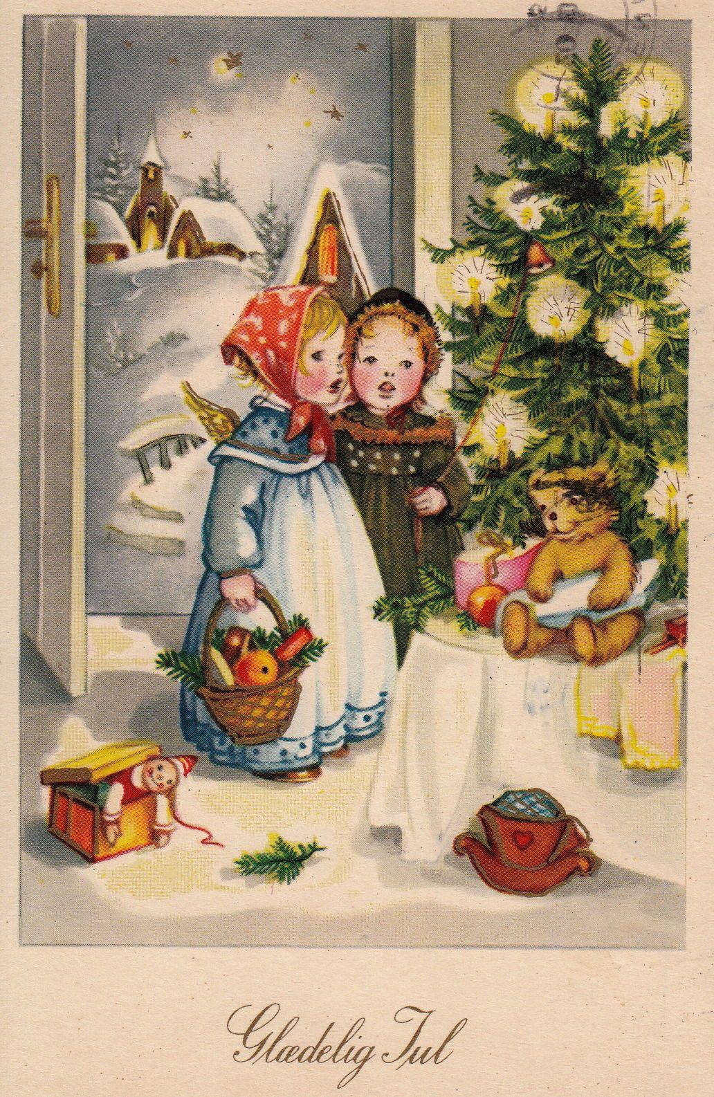 Ak anita rahlwes weihnachten engelchen legen geschenke auf den gabentisch anita - Bilder weihnachtskarten ...