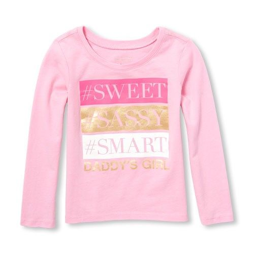 0633af36 Baby And Toddler Girls Long Sleeve Foil 'Daddy's Girl' Graphic Tee ...