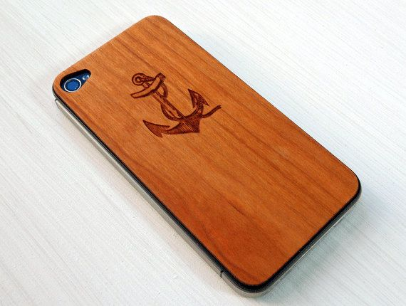 Anchor & Rope Etching on Real Wood iPhone 4 Skin Cover. $20.00, via Etsy. Oh. My. God. I die.
