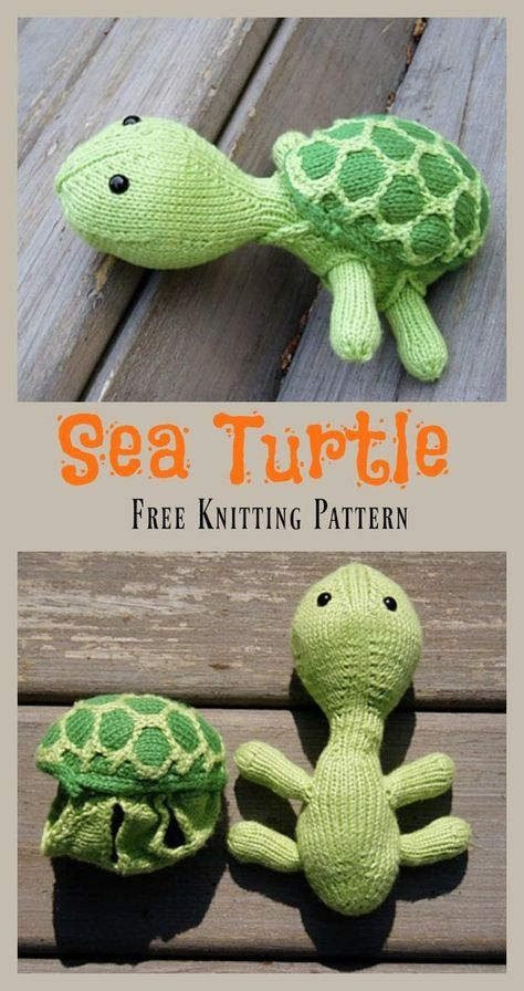 Sea Turtle Free Knitting Pattern #knittedtoys