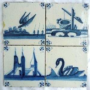 RARE Set of 4 Dutch Delft Blue Tiles 18th C Bird Swan Castle Water Pit | eBay