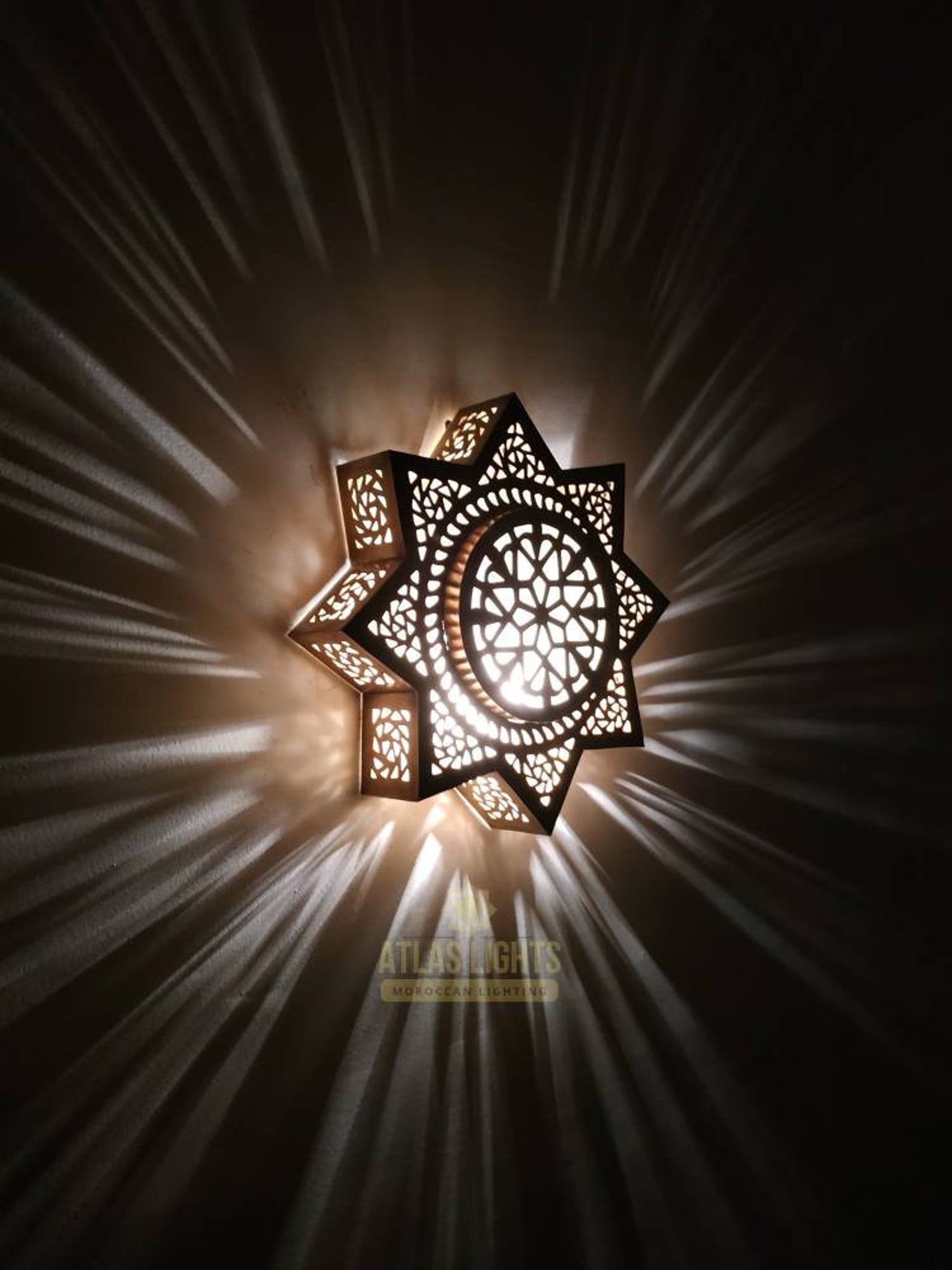 Silver Moroccan Wall Light With Punched Work Finish Wall Lights