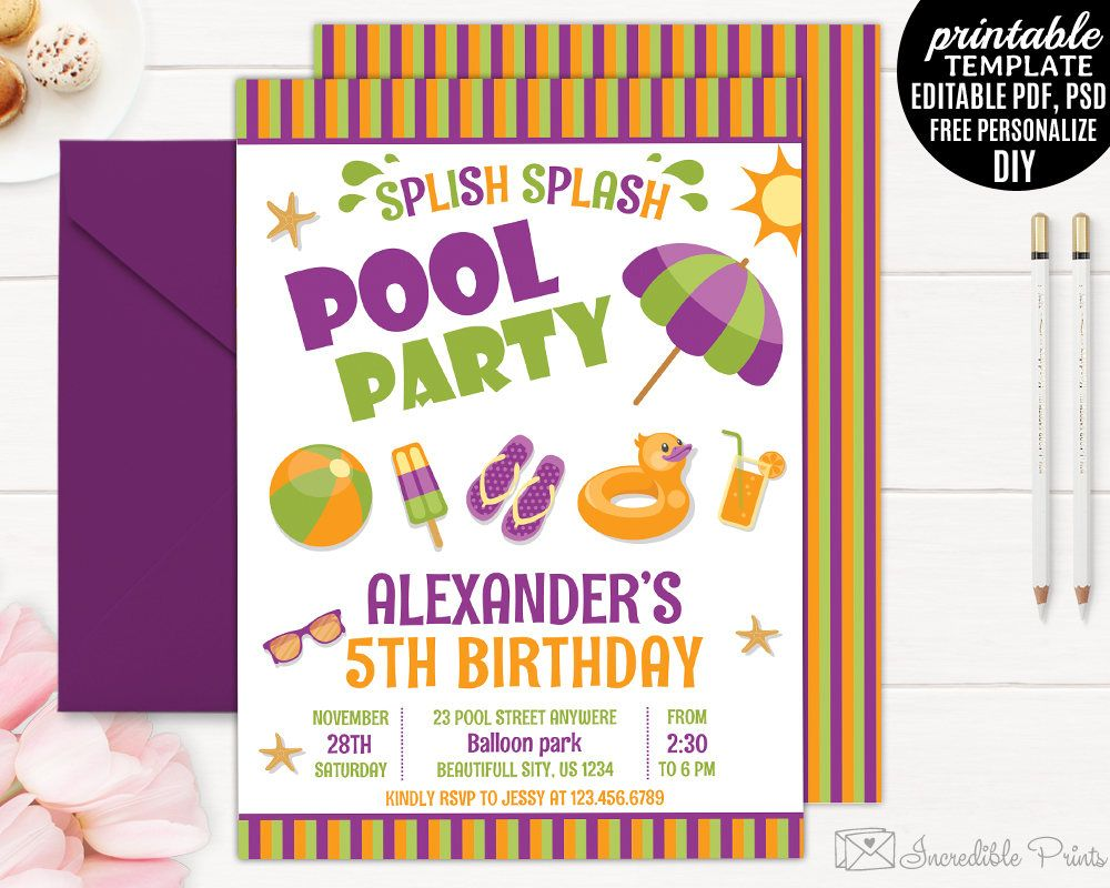 Pool party birthday invitation template 4th 5th 6th 7th 8th pool party birthday invitation template 4th 5th 6th 7th 8th birthday invitation template printable filmwisefo