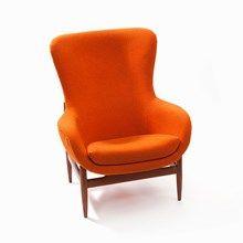 Orange Wing Chair, Teakwood, Denmark, c. 1960