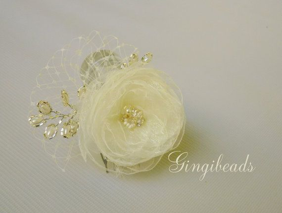 Wedding bridal fascinator hairpiece  Hair comb  by GingiBeads, $31.50