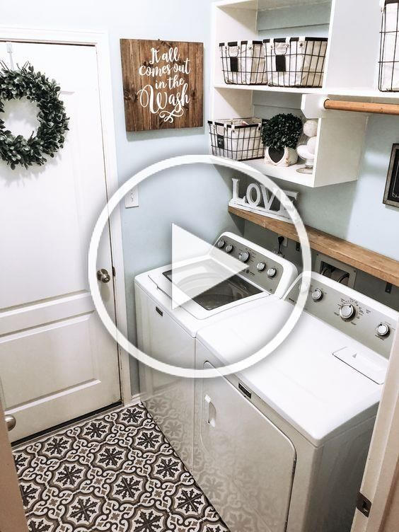 The laundry room is one space in your home that can easily be overlooked. However, it is the perfect space for design experimentation! In 2020 you can expect more play on color, pattern and design in this space.   #laundry #laundryroom #2020design #home #homedecor #room #roominspo #smallspaces #farmhouse #modernfarmhouse