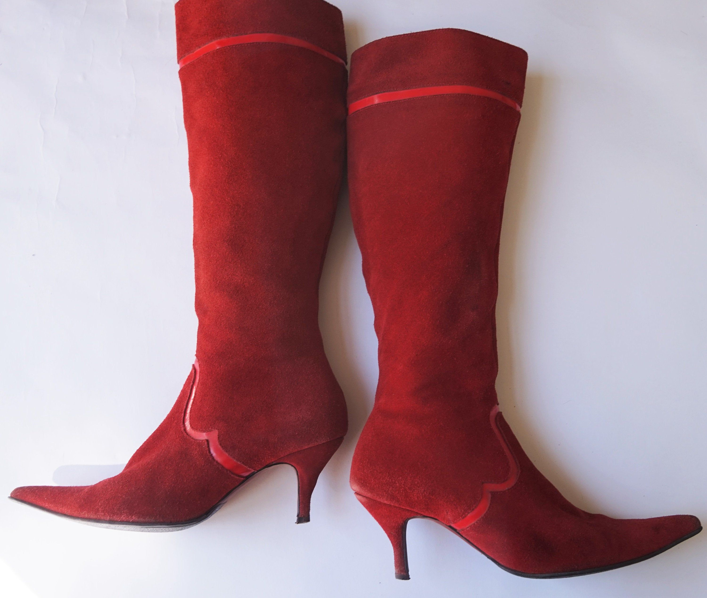Red Suede Leather Pointy Boots Kitten Heels By Friis And Company Size Eur40 Uk7 Us9