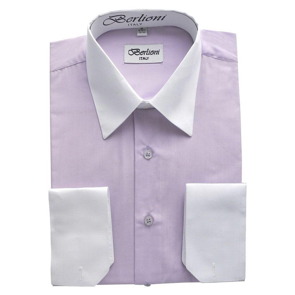 Two tone dress shirts for Men Lavender shirt white collar pockets cuff  Berlioni #BerlioniItaly