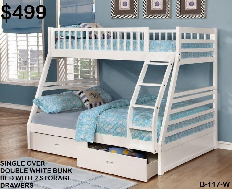 B 117 W Single Over Double Bunk Bed With Storage Drawers In 2020 Bunk Beds With Storage Bunk Beds With Stairs Bunk Bed Designs