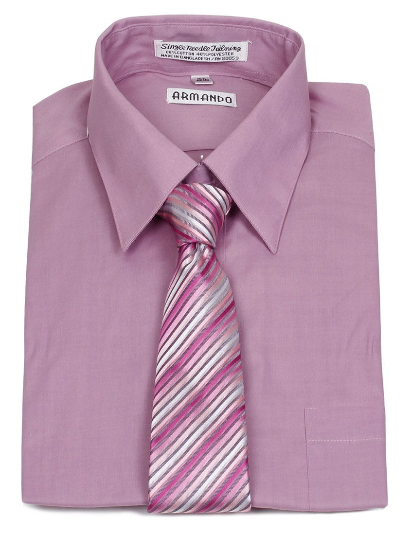 Armando men 39 s violet dress shirt violet pink stripe for Pink shirt tie combo