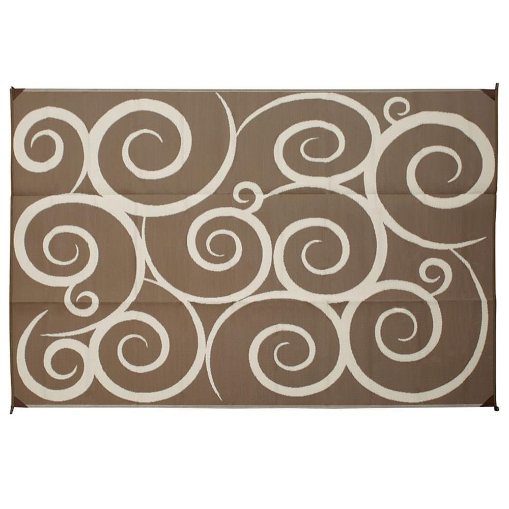Image Reversible Patio Mats 9 X 12 Swirl Design Brown Cream