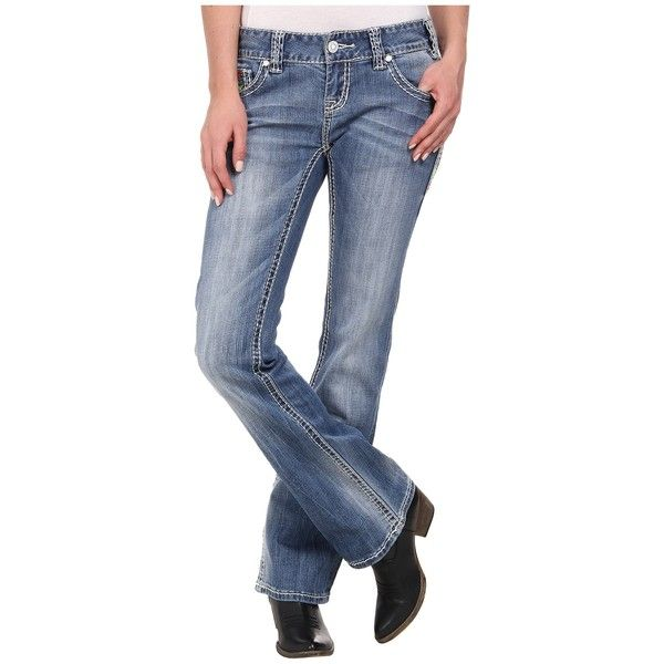 Rock and Roll Cowgirl Low Rise Bootcut in Light Vintage W0-2447... (770 NOK) ❤ liked on Polyvore featuring jeans, low rise boot cut jeans, embroidered jeans, vintage jeans, blue jeans and low rise bootcut jeans