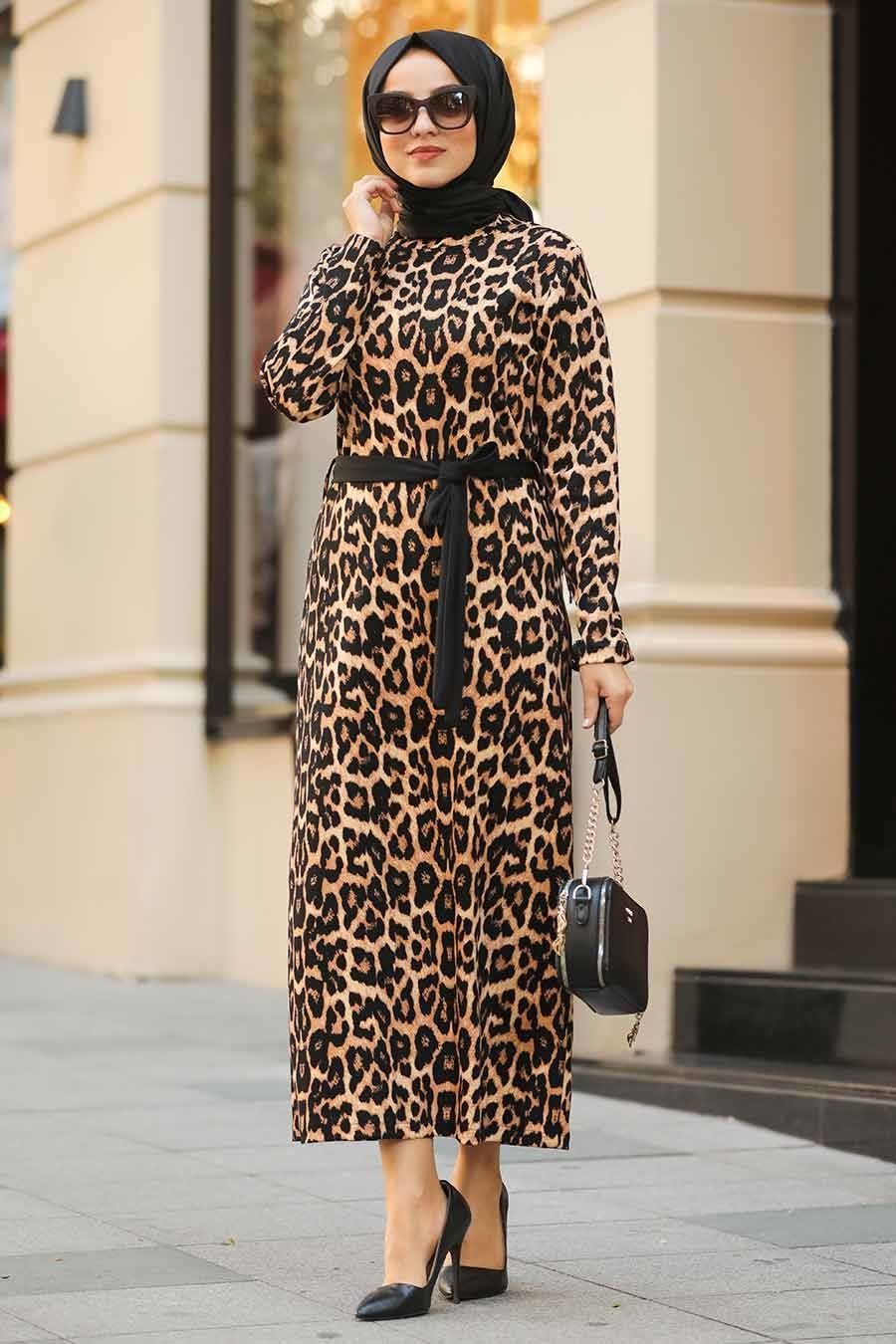 Neva Style Leopar Desenli Tesettur Elbise 11024lp Tesetturisland Com Elbise Modelleri Elbise Islami Giyim