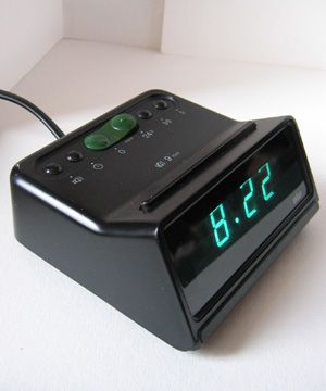 Vintage alarm clock green  silver  3D  clock  from China 70s  80s