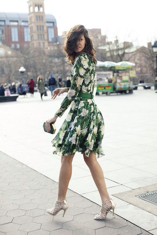 8b116e5350f a floral long sleeve over the knee dress in green and white