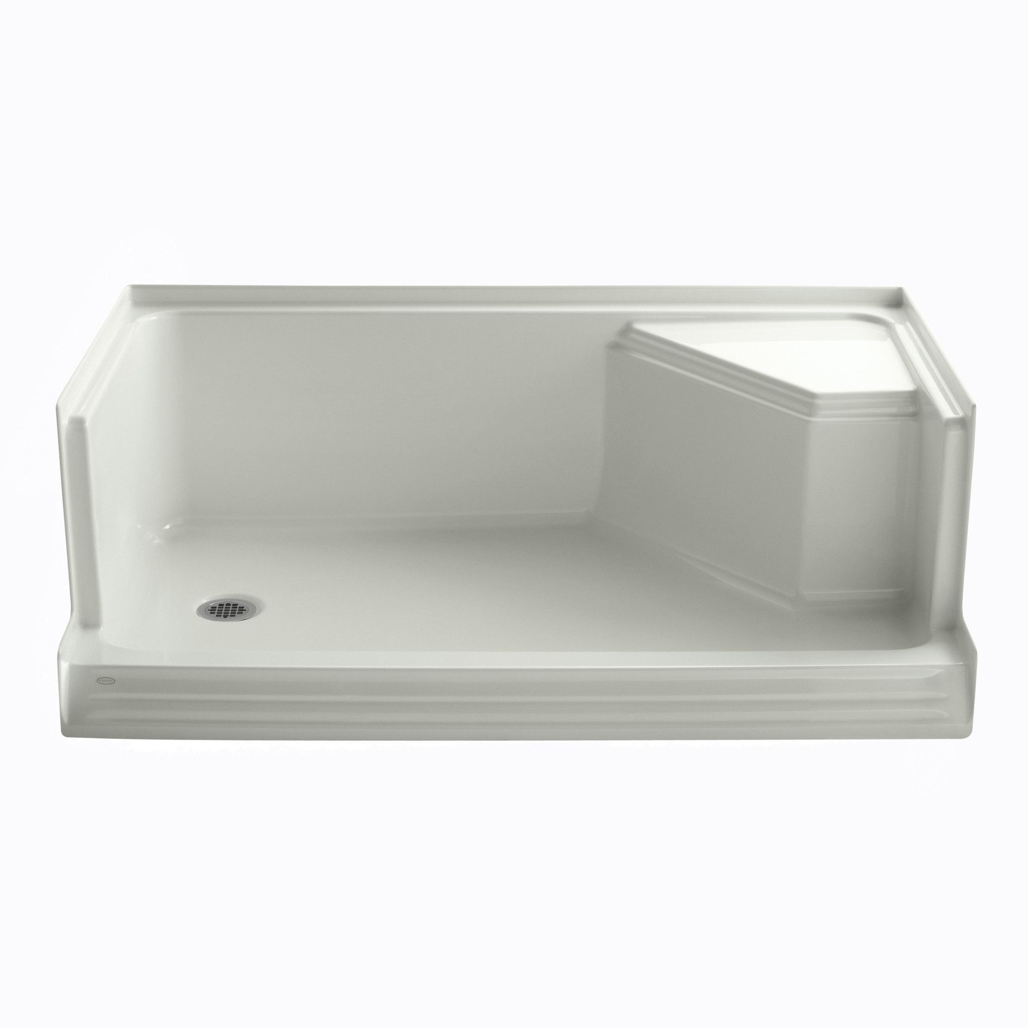 Memoirs 60 X 36 Single Threshold Left Hand Drain Shower Base With Integral Seat At Right Acrylic Shower Base Shower Base Kohler Memoirs
