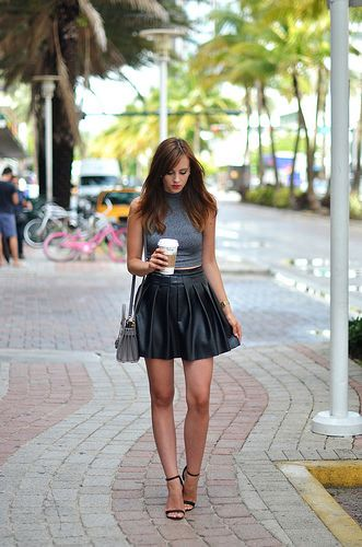 IMG_0023 Leather babe miniskirt street | von Leather fashion fashionista