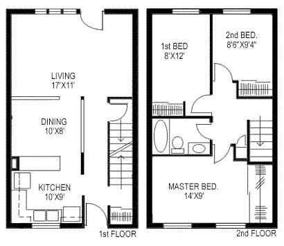 Image Result For 2 Story House Plans 850 Square Footprint Duplex Floor Plans Duplex House Plans Small House Floor Plans